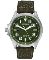 Citizen Men's Eco-Drive Green Nylon Strap Watch 44mm AW1410-