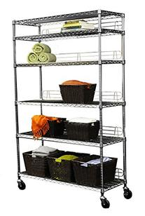 TRINITY EcoStorage 6-Tier NSF Wire Shelving Rack with Wheels