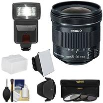 Canon EF-S 10-18mm f/4.5-5.6 IS STM Zoom Lens with Flash + 3 Filters + Diffusers + Hood Kit for EOS 70D, 7D, Rebel T5, T5i, T6i, T6s, SL1 Camera