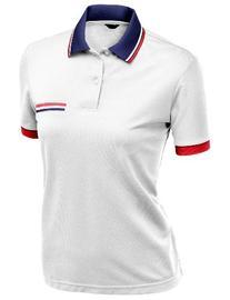 Women's Color Effect Collar Short Sleeve Polo T Shirt WHITE
