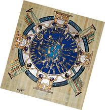 Egyptian Hand-Painted Papyrus Artwork : Circular Zodiac from