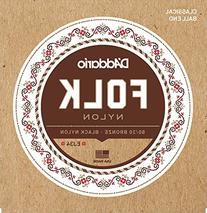 D'Addario EJ34 Folk Nylon Guitar Strings, Ball End, 80/20