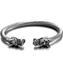 Elastic Adjustable Mens Dragon Bracelet Steel Twisted Cable