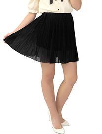 Allegra K Women Elastic Waist Chiffon Pleated Skirt High