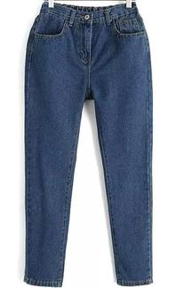 Elastic Waist Denim Blue Pant