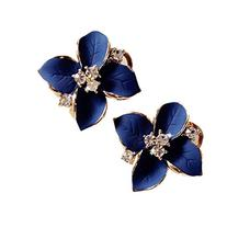 Demarkt Fashion Elegant Cute Lady Girls Blue Flower Crystal