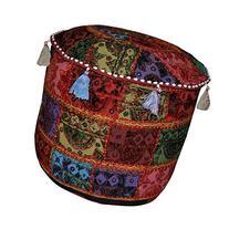 Elegant Patchwork Design Cotton Round Embroidery Ottoman