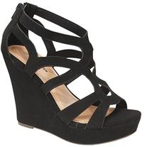 Top Moda Womens Ella-15 Fashion Wedge Sandals, Black, 9
