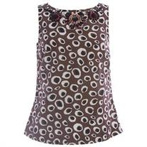 BODEN Women's Embellished Safari Spot Top US Sz 4 Brown/