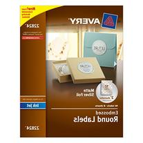 """Avery Easy Peel Embossed Matte Silver Foil Round Labels, 2"""""""