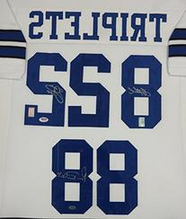 DALLAS COWBOYS TRIPLETS AUTOGRAPHED WHITE FRAMED JERSEY WITH