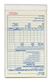 Adams Employee Payroll Record Book, 2 Part, Carbonless, 4.19
