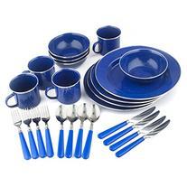 Enamel Camping Tableware Set 24 Pieces