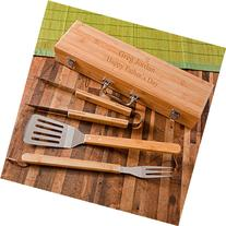 Engraved BBQ Set in Bamboo Case - Personalized BBQ Set