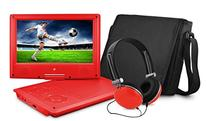 Ematic EPD909RD Swivel Portable DVD Player with Headphones