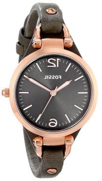 Fossil Women's ES3077 Georgia Smoke Leather and Rose Gold-