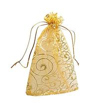 Pack of 100 Champagne Eyelash Organza Drawstring Pouches