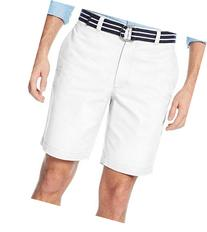 Club Room Estate Collection White Belted Flat-Front Shorts