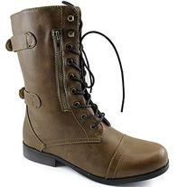 Women's Dailyshoes Evan-10 Ankle Zipper Strap Military