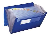 Expanding File, 12 Pockets, Letter, Blue/Clear