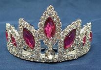 Exquisite Hot Pink Crystal Prom Wedding Tiara comb H77