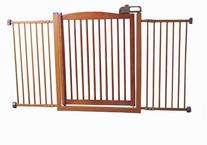 Extra Wide Tension Mount Pet Gate - Brown