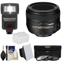 Nikon 50mm f/1.4G AF-S Nikkor Lens = 3 Filters + Flash & 2