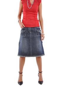 Style J Fabulous 'N Pockets Denim Skirt-Blue-32