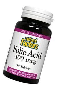 Natural Factors Folic Acid 400mcg Tablets, 90 Count
