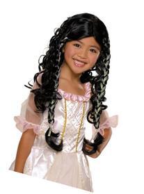 Child Fairy Tale Princess Wig Black