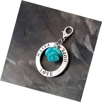 Faith Love Hope Tiffany Blue Rose Clip on Charm Pendant