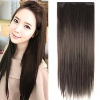 "TOOGOO Fashionable 23"" Dark Brown Straight Full Head Clip In"