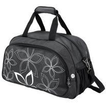 "20"" Fashionable Flowers Pattern Black Sports Gym Tote Bag"