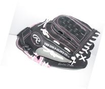 Fast Pitch Leather Softball Mitt Black with Pink Trim