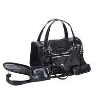 Anima Black Faux Crocodile Travel Bag, 15-Inch by 8-Inch by