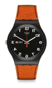 Swatch Faux Fox Black Dial Plastic Orange Silicone Quartz