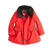 London Fog® Baby Girls' Faux Fur Collar Dress Coat