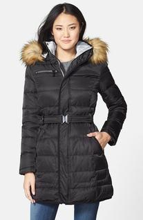 Women's Vince Camuto Faux Fur Trim Belted Quilted Walking