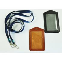 TOOGOO 2 Pcs Faux Leather Business ID Badge Card Vertical Holders Black Brown