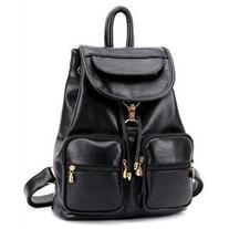 Faux-Leather Drawstring Flap Backpack