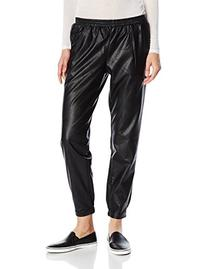 BCBGeneration Women's Faux Leather Track Pant, Black, X-