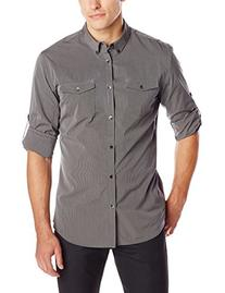 Calvin Klein Men's Fine Stripe Roll Sleeve Woven Shirt,