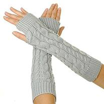 UZZO 1Pair Women's Fingerless Arm Warmer Gloves ¨CThumb
