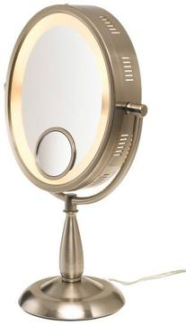 Jerdon HL9510N 8-Inch x 10-Inch Oval Lighted Vanity Mirror with 10X and 1X Magnification, 3-Light Settings, Nickel Finish from Jerdon