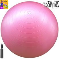 Fitness Ball: Pink, 26in/65cm Diameter, Includes 1 Ball +1 Pump + 1 Page Instruction Chart. No instructional DVD
