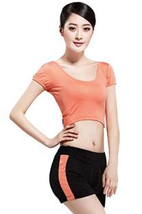 Pink Queen Orange Fitness Crop Tops T Shirts and Black