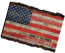 Patriotic American Flag Land of the Free Distressed 4 x 6