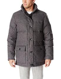 Vince Camuto Men's Flannel Down Anorak Coat, Charcoal, Small