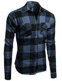 Flannel Plaid Checkerd Long Sleeve TShirts Blue Black Size S