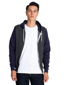American Apparel Men Flex Fleece Two-Tone Zip Hoodie Size M